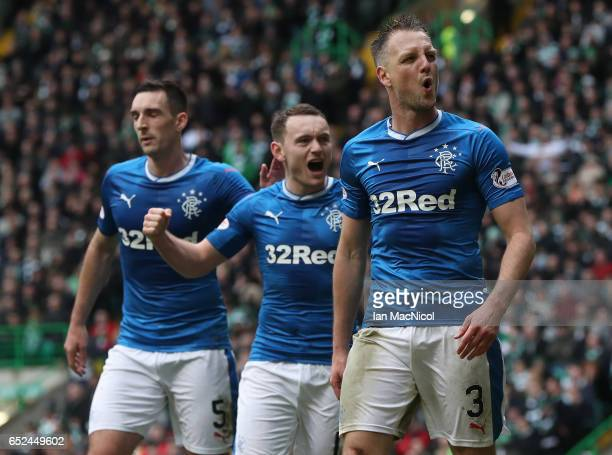 Clint Hill of Rangers celebrates after he scores during the Ladbrokes Scottish Premiership match between Celtic and Rangers at Celtic Park on March...