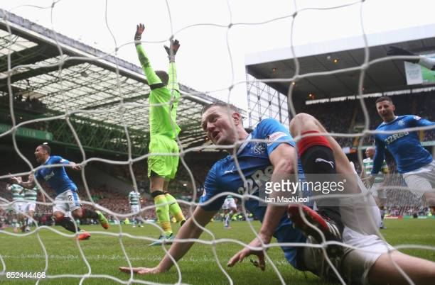 Clint Hill of Rangers celebrates scoring his sides first goal during the Ladbrokes Scottish Premiership match between Celtic and Rangers at Celtic...