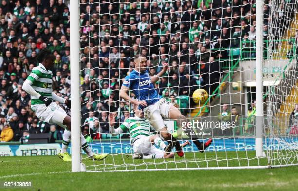 Clint Hill of Rangers scores during the Ladbrokes Scottish Premiership match between Celtic and Rangers at Celtic Park on March 12 2017 in Glasgow...