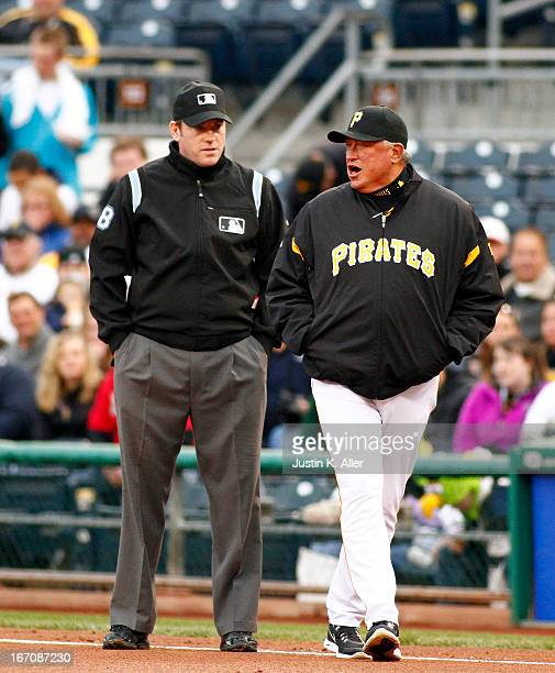 Clint Hurdle of the Pittsburgh Pirates argues a call in the first inning against the Atlanta Braves during the game on April 19 2013 at PNC Park in...