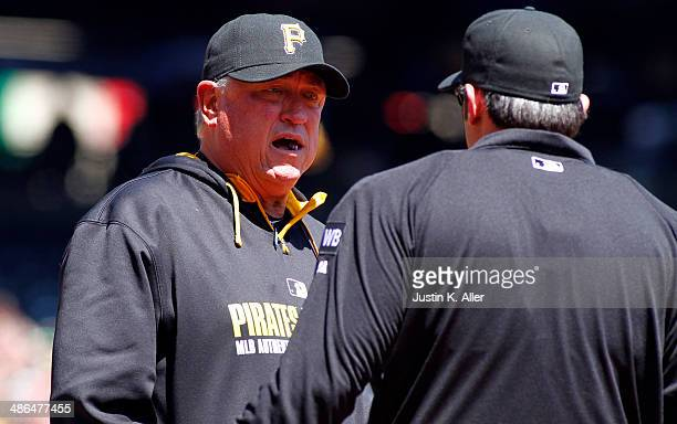 Clint Hurdle of the Pittsburgh Pirates argues a strike three call in the fifth inning against the Cincinnati Reds during the game at PNC Park April...