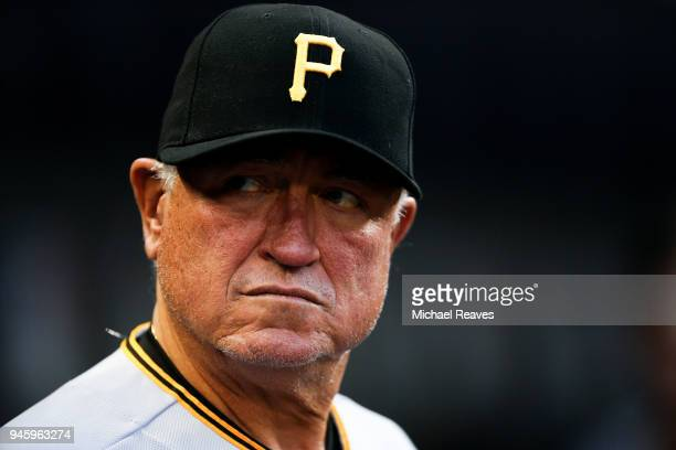 Clint Hurdle of the Pittsburgh Pirates looks on during the game against the Miami Marlins at Marlins Park on April 13 2018 in Miami Florida