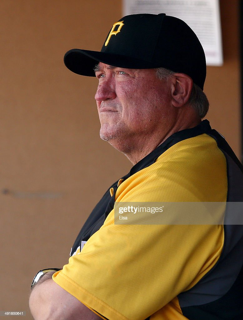Clint Hurdle #13 of the Pittsburgh Pirates looks on from the dugout before the game against the New York Yankees on May 17, 2014 at Yankee Stadium in the Bronx borough of New York City.
