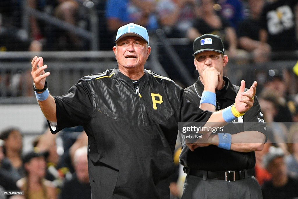 Clint Hurdle #13 of the Pittsburgh Pirates reacts after a call in the fourth inning during the game against the Chicago Cubs at PNC Park on June 17, 2017 in Pittsburgh, Pennsylvania.