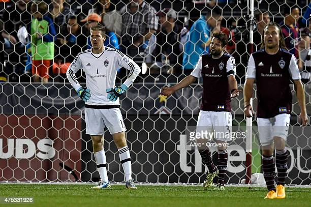 Clint Irwin of Colorado RapidsDrew Moor and Michael Harrington react to a 21 gamewinning goal in the 90th minute by Jack Jewsbury of Portland Timbers...