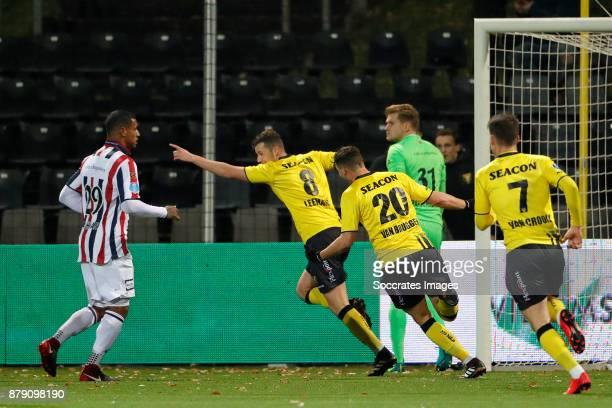 Clint Leemans of VVV Venlo celebrates 31 with Damian van Bruggen of VVV Venlo Vito van Crooij of VVV Venlo during the Dutch Eredivisie match between...