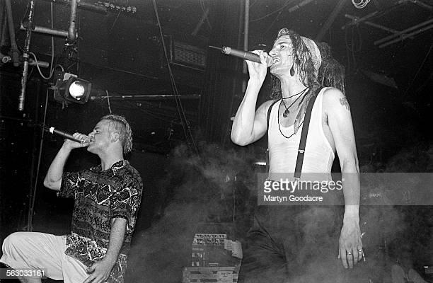 Clint Mansell and Graham Crabb of Pop Will Eat Itself perform on stage at Heaven London United Kingdom 1995