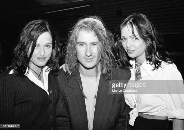 Clint Mansell of Pop Will Eat poses with Gayle And Gillian Blakeney from TV Soap Neighbours at Heaven, London, United Kingdom, 1995.