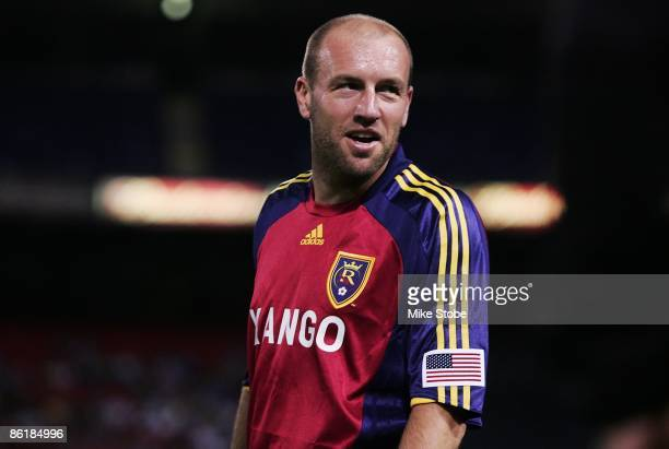 Clint Mathis of the Real Salt Lake plays the ball against the New York Red Bulls at Giants Stadium in the Meadowlands on April 18, 2009 in East...