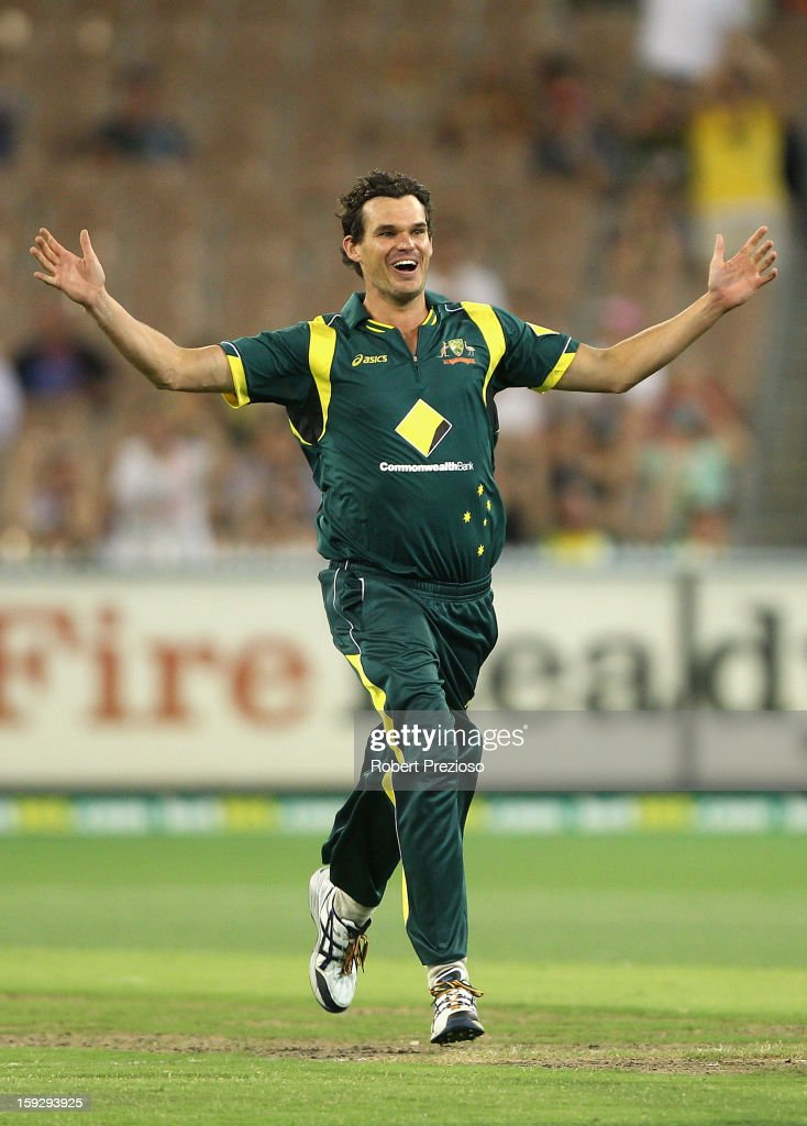 Clint McKay of Australia celebrates the wicket of Dinesh Chandimal of Sri Lanka during game one of the Commonwealth Bank One Day International series between Australia and Sri Lanka at Melbourne Cricket Ground on January 11, 2013 in Melbourne, Australia.