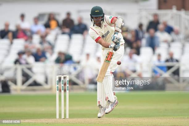 Clint McKay of Leicestershire batting during the Specsavers County Championship Division Two match between Nottinghamshire and Leicestershire at...