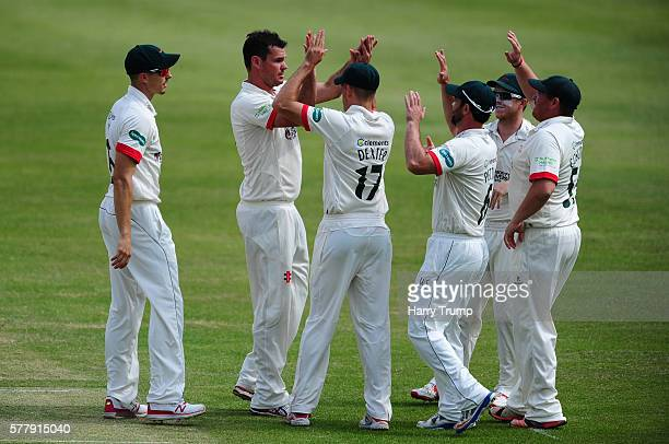 Clint McKay of Leicestershire celebrates after dismissing Chris Dent of Gloucestershire during Day One of the Specsavers County Championship Division...