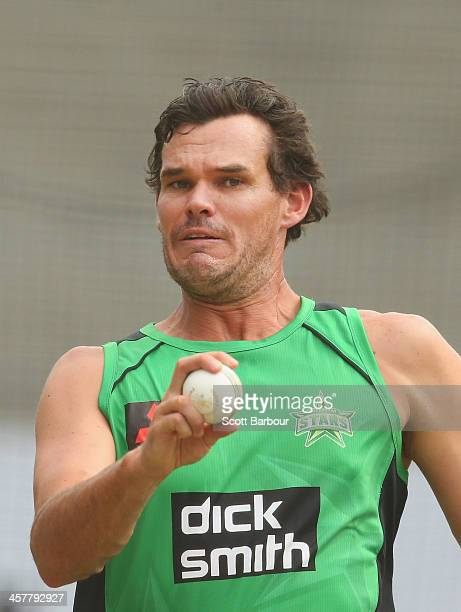 Clint McKay of the Stars bowls during a Melbourne Stars Big Bash League training session at the Melbourne Cricket Ground on December 19 2013 in...