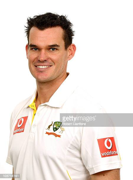 Clint McKay poses for a portrait during the official Australian cricket team headshots session at the Hyatt Coolum on August 23 2010 in Coolum Beach...