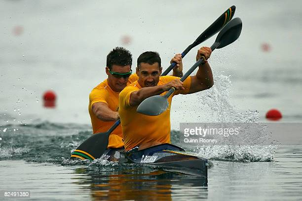 Clint Robinson and Jacob Clear compete in the Kayak Double 500m Men Semifinal held at the Shunyi Olympic RowingCanoeing Park during Day 13 of the...