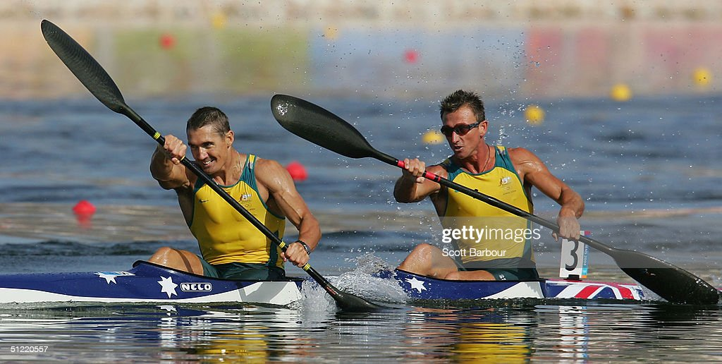 Clint Robinson and Nathan Baggaley of Australia compete during the men's K-2 class 500 metre semifinal on August 26, 2004 during the Athens 2004 Summer Olympic Games at the Schinias Olympic Rowing and Canoeing Centre in Athens, Greece.