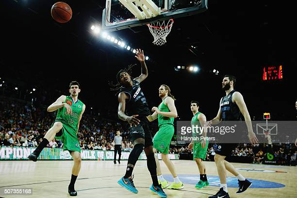 Clint Steindl of the Crocodiles and Charles Jackson of the Breakers lose the ball during the Round 17 NBL match between the New Zealand Breakers and...