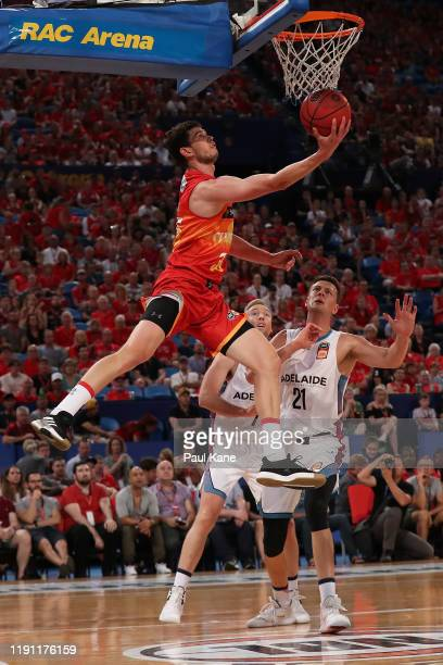 Clint Steindl of the Wildcats lays up during the round nine NBL match between the Perth Wildcats and the Adelaide 36ers at Perth Arena on December 01...
