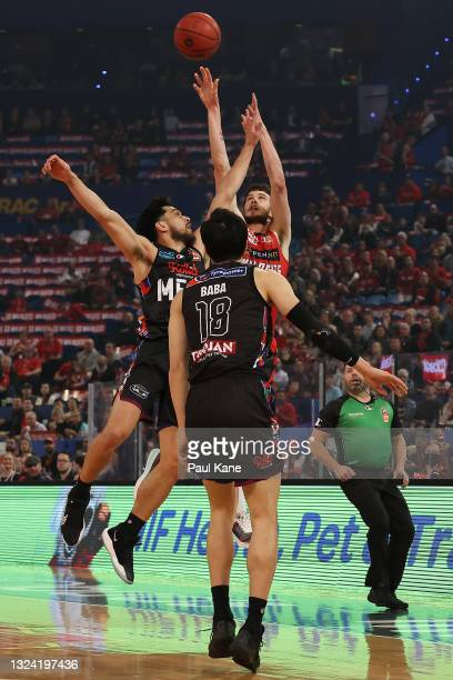 Clint Steindl of the Wildcats puts a shot up during game one of the NBL Grand Final Series between the Perth Wildcats and Melbourne United at RAC...