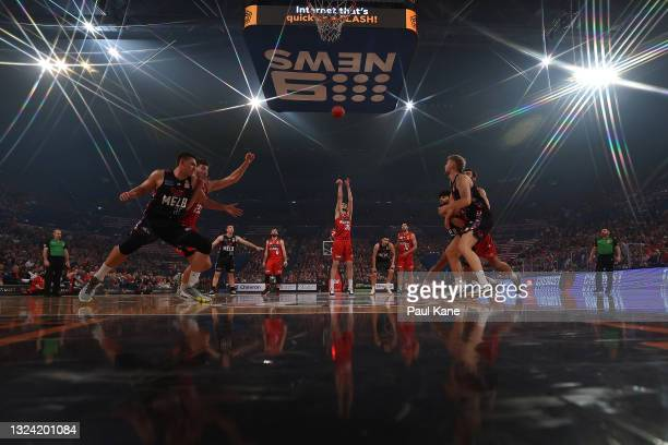 Clint Steindl of the Wildcats shoots a free throw during game one of the NBL Grand Final Series between the Perth Wildcats and Melbourne United at...