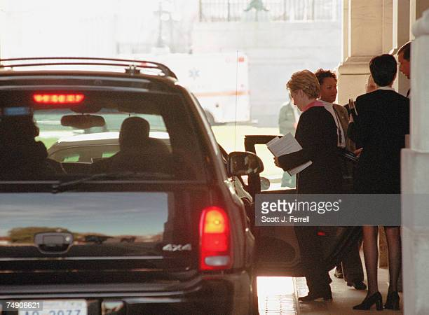 CLINTIONSenatorelect Hillary Rodham Clinton DNY gets in a limosine after meeting with Sen Robert C Byrd DWVa at the US Capitol