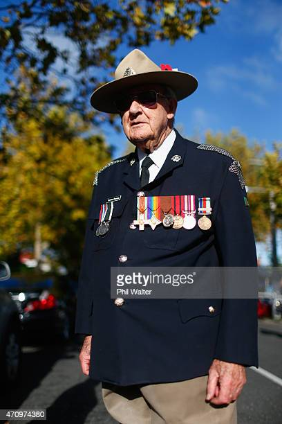 Clinton Bowman waits to march towards the Grey Lynn RSA during an ANZAC Day Service on April 25 2015 in Auckland New Zealand New Zealanders are...