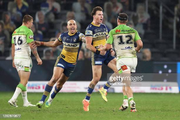Clinton Gutherson of the Eels celebrates kicking the winning field goal in golden point time during the round seven NRL match between the Parramatta...
