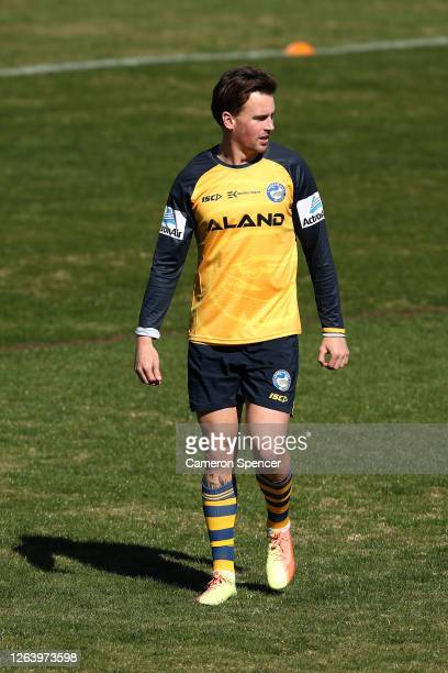 Clinton Gutherson of the Eels looks on during a Parramatta Eels NRL training session at Kellyville Park on August 05 2020 in Sydney Australia