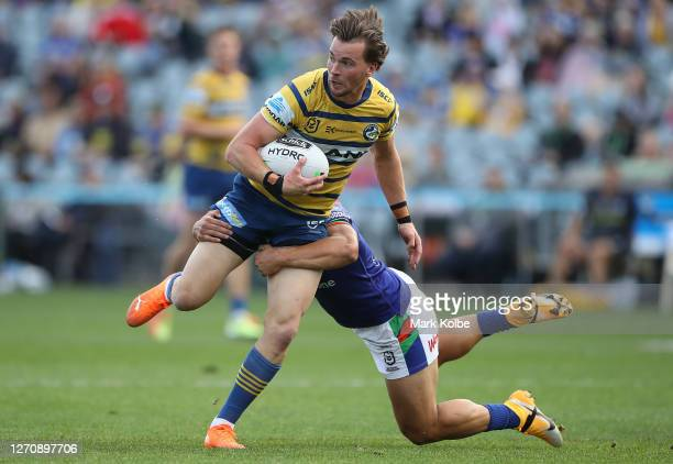 Clinton Gutherson of the Eels looks to make a break during the round 17 NRL match between the New Zealand Warriors and the Parramatta Eels at Central...