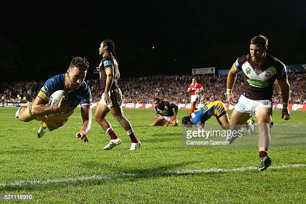 Clinton Gutherson of the Eels scores a try that was disallowed during the round seven NRL match between the Manly Sea Eagles and Parramatta Eels at...