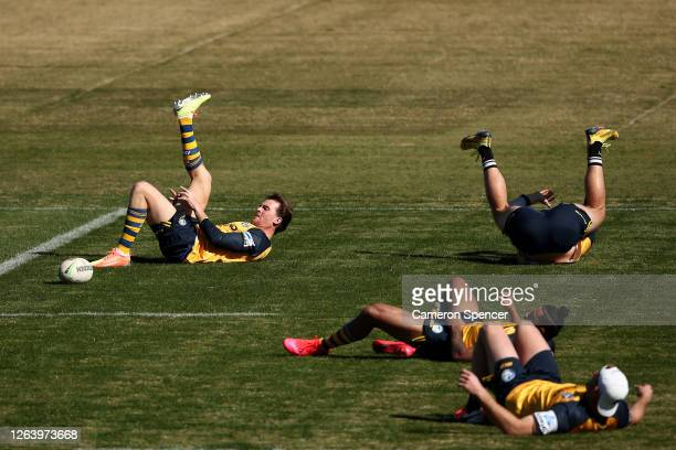 Clinton Gutherson of the Eels stretches during a Parramatta Eels NRL training session at Kellyville Park on August 05 2020 in Sydney Australia