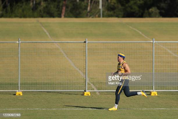 Clinton Gutherson runs during a Parramatta Eels NRL training session at Kellyville Park on May 06, 2020 in Sydney, Australia.