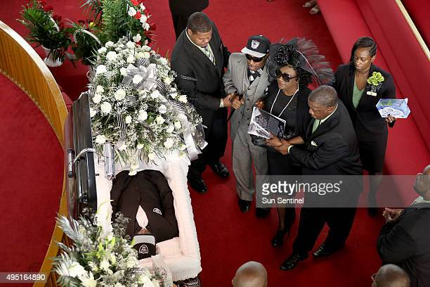 Clinton Jones Sr and his wife Kattie Joneswalk up to the casket of their son Corey Jones at the Payne Chapel AME of West Palm Beach Fla on Saturday...