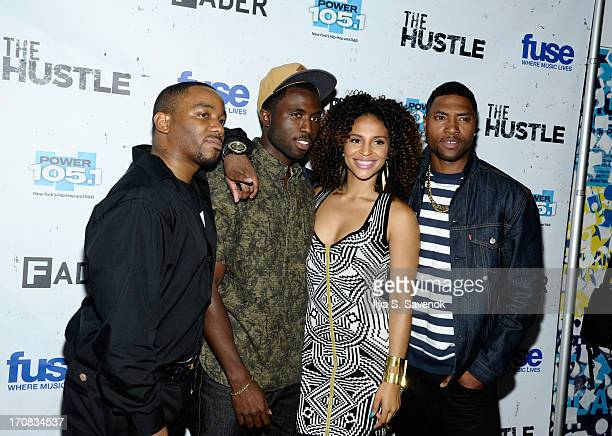 Clinton Lowe Y'Lan Noel Erica Dickerson and London Brown attend Fuse's screening of 'The Hustle' at Converse Rubber Tracks Studio on June 18 2013 in...