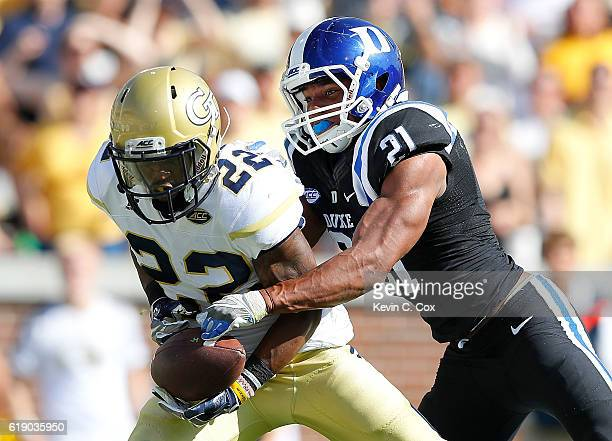 Clinton Lynch of Georgia Tech Yellow Jackets pulls in this goahead touchdown against Alonzo Saxton II of the Duke Blue Devils at Bobby Dodd Stadium...