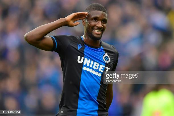 Clinton Mata defender of Club Brugge salutes during the Jupiler Pro League match between Club Brugge and KAA Gent at the Jan Breydel stadium on...