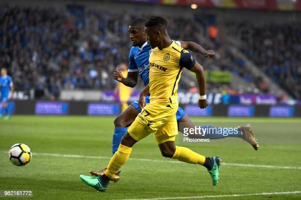 Clinton Mata midfielder of KRC Genk and Anthony Limbombe forward of Club Brugge during the Jupiler Pro League play off 1 match between KRC Genk and...