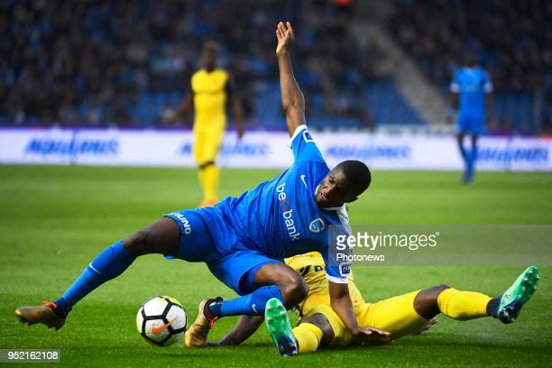 Clinton Mata midfielder of KRC Genk Anthony Limbombe forward of Club Brugge during the Jupiler Pro League play off 1 match between KRC Genk and Club...