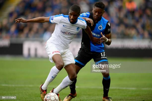 Clinton Mata midfielder of KRC Genk is challenged by Anthony Limbombe forward of Club Brugge during the Jupiler Pro League playoff 1 match between...