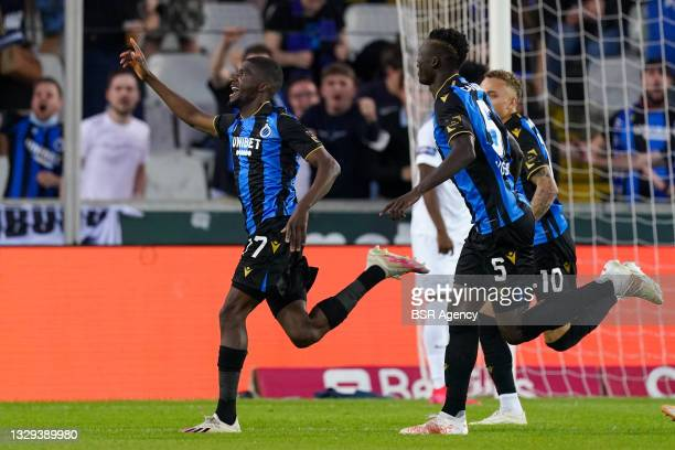 Clinton Mata of Club Brugge celebrates after scoring his sides third goal with Noa Lang of Club Brugge, Federico Ricca of Club Brugge and Odilon...