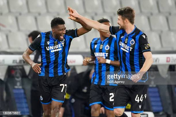 Clinton Mata of Club Brugge celebrates with Brandon Mechele of Club Brugge after scoring his sides third goal during the Jupiler Pro League match...