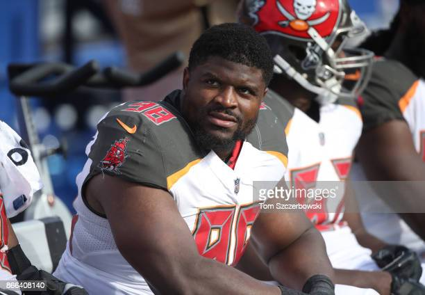 Clinton McDonald of the Tampa Bay Buccaneers looks on from the bench during NFL game action against the Buffalo Bills at New Era Field on October 22...