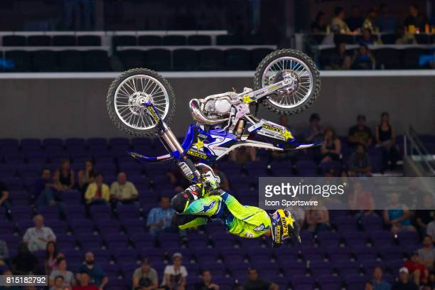 Clinton Moore flips during Moto X Freestyle at X Games Minneapolis on July 14 2017 at US Bank Stadium in Minneapolis Minnesota