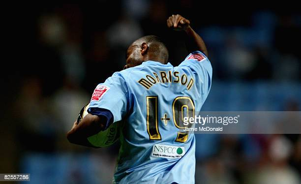 Clinton Morrison celebrates scoring a goal for Coventry during the Carling Cup, Second Round match between Coventry City and Newcastle United at the...
