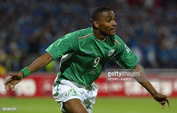 Clinton Morrison of Ireland celebrates after scoring a goal against Israel during the World Cup 2006 qualifying match between Israel and the Republic...