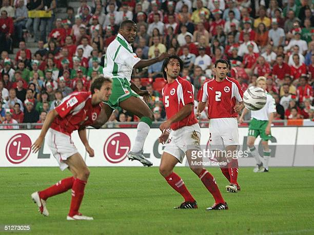 Clinton Morrison of Ireland scores the first goal during the FIFA World Cup 2006 Group Four qualifying match between Switzerland and Republic of...