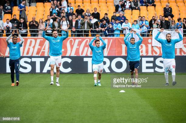 Clinton Mua Njie Aymen Abdennour Yusuf Sari Christopher Rocchia and Kostas Mitroglou of Marseille during the Ligue 1 match between Troyes Estac and...