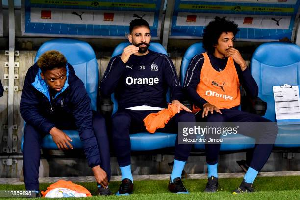 Clinton Njie and Adil Rami and Luiz Gustavo of Marseille during the Ligue 1 match between Olympique Marseille and AS Saint Etienne on March 3 2019 in...
