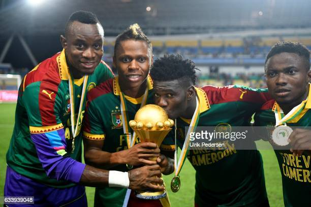 CLinton Njie of Cameroon celebrates the victory during the African Nations Cup Final match between Cameroon and Egypt at Stade de L'Amitie on...