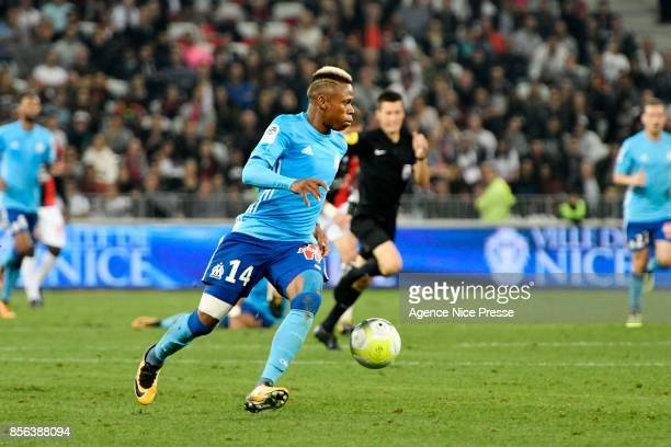 Clinton Njie of Marseille during the Ligue 1 match between OGC Nice and Olympique Marseille at Allianz Riviera on October 1 2017 in Nice